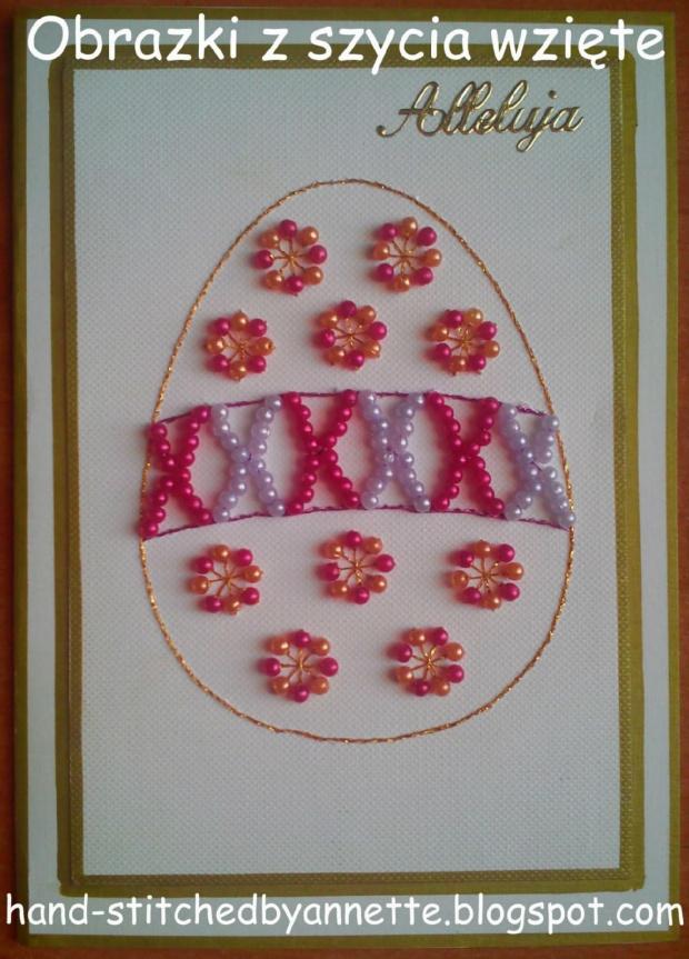 Obrazki z szycia wzięte - na podstawie wzoru ze stitchingcards.com #HaftMatematyczny #ObrazkiZSzyciaWzięte #wielkanoc #KartkiNaWielkanoc #pisanka #pisanki #jajo