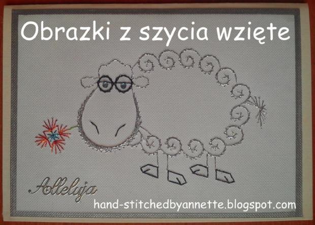 Obrazki z szycia wzięte - na podstawie wzoru ze stitchingcards.com #HaftMatematyczny #ObrazkiZSzyciaWzięte #wielkanoc #KartkiNaWielkanoc #owca #owieczka #baranek